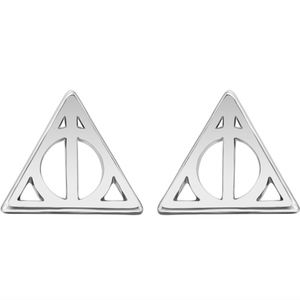 Harry Potter Deathly Hallows Silver Stud Earrings